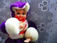 BRIGHT PURPLE, YELLOW PLUSH CDN PAJAMA ZIPPY DOLL CASE 16X9""