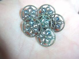 6 Antique Victorian Steel Paisley Flower & Brass Wheel 11mm Collectable Buttons