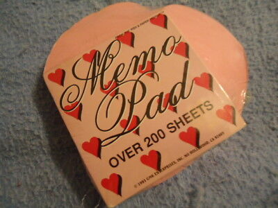 Pink Heart Shaped Memo Pad with over 200 3 ½ Inch Sheets Valentines Day Heart Shaped Notes Pad