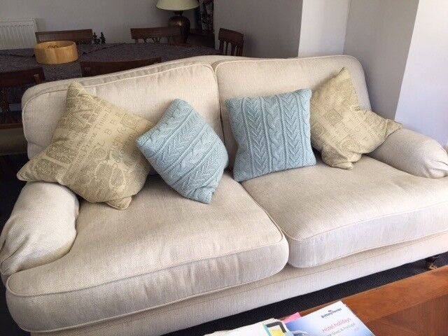 Large Laura Ashley Sofa Lyndon In Natural Herringbone Fabric Hardly Used Great