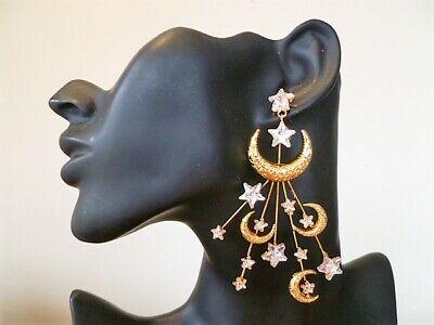 $596 FABULOUS  Jennifer Behr 'Lunetta' Crescent Moon Post Earrings 9cm Drop