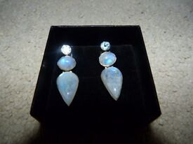 Semi Precious Moonstone Earrings