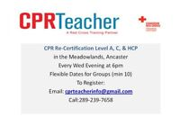 CPR Renewal for $35 Every Wed in Ancaster