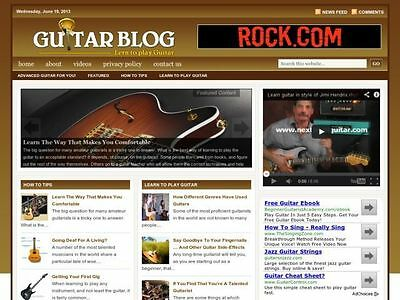 Hot Learn Acoustic / Electric Guitar Tips Wordpress Blog Website For Sale!