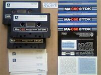 3x TDK MA C60 60 METAL TYPE 4 IV GUARANTEED CASSETTE TAPES 1979-81 W/ CARDS CASES LAB's & FREE P&P