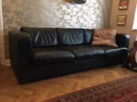 Black Habitat 3 seater leather sofa