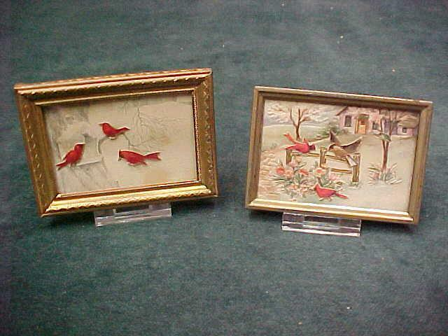 2 MINIATURE VINTAGE DIECUT PICTURES RED CARDINAL BIRDS AT FEEDER ON FENCE