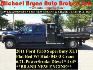 2011 FORD F550 FLAT BED / HIAB CRANE TRUCK *BRAND NEW ENGINE*