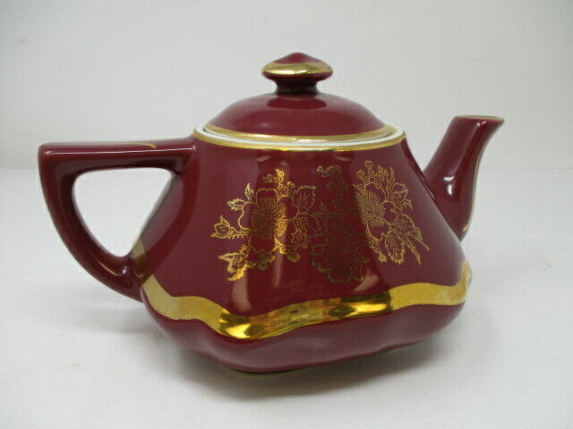 Vintage Hall China Baltimore 6 Cup Maroon w/Standard Gold Teapot