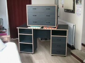 Chest of 3 drawers + dressing table without mirror/desk with shelf space + twist stepper with handle