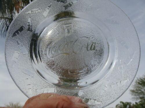 "Coca Cola Clear Textured Glass, 4 Vintage Salad Bread Plates 8"""