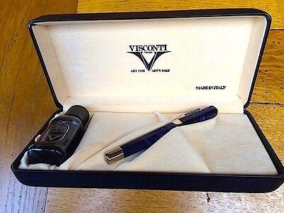 Visconti Opera deep blue fountain pen with 14K gold nib. Boxed.