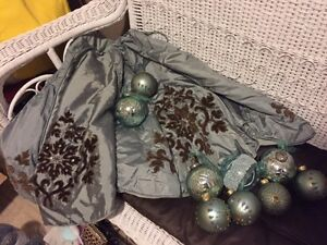 green blue tree skirt and selection of matching bulbs