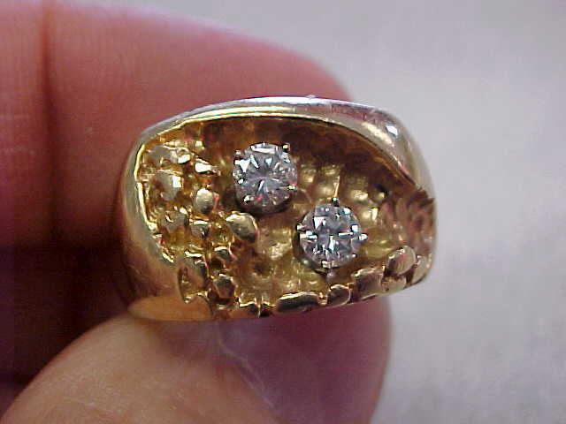Mens 2 Diamond Ring 14k Gold Size 8-1/2  Very Nice!   Make Offer