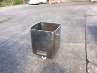 Solid stainless steel bin with new castors very strong & easily pushed