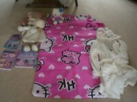 GIRLS BEDROOM ACCESSORIES - HELLO KITTY DUVET SET, SOFT TOYS, DRESSING GOWN, BOOKS, CDs