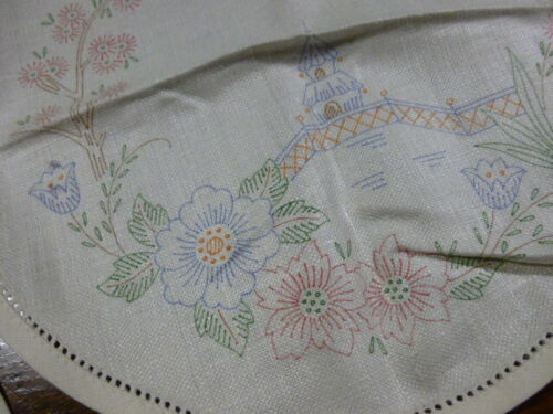 NOS Colored Pre-Stamped Linen Doilies Candle Mats Chinoisery Pagoda Blooms