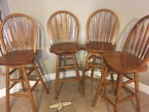 Solid Wood Bar Stools (4)