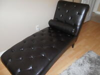 Brown leather, Wood Chaise Lounge Chair