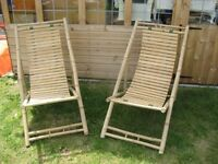 Pair deck chairs Bamboo