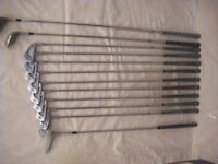 Set of Ryder Mk 2 golf clubs plus two Wilson Metal clubs and a putter.