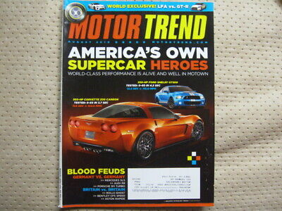 Motor Trend August 2010 2011 Shelby Mustang GT500 Corvette Z06 Nissan GT-R 911 for sale  Tracy