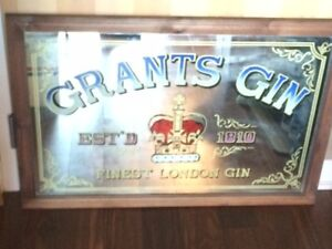 RARE VINTAGE GRANT'S GIN ADVERTISING MIRROR SIGN $85