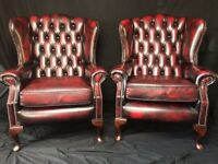 Pair Handmade Luxury Leather Chesterfield Style Oxblood Red High Back Armchairs