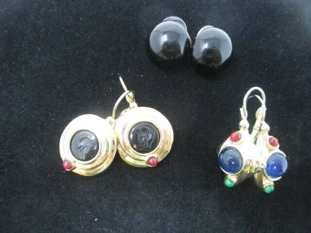 Lot of 3 Gold & Gemstone Earrings for Pierced Ears