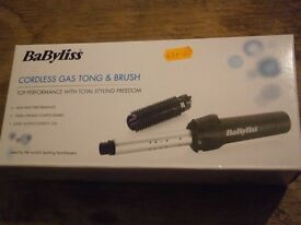 BABYLISS CORDLESS GAS TONG AND BRUSH WITH 3 FULL ENERGY CELLS - NEW