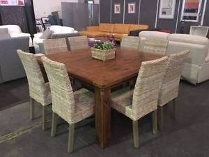 9 PIECE TIMBER/ RATTAN SEAT DINING SETTING - FACTORY SECOND Smithfield Parramatta Area Preview
