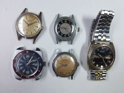Vintage lot of 5 parts/repair watches SEIKO Auto KENT Auto HIALEAH DAICHES Diver