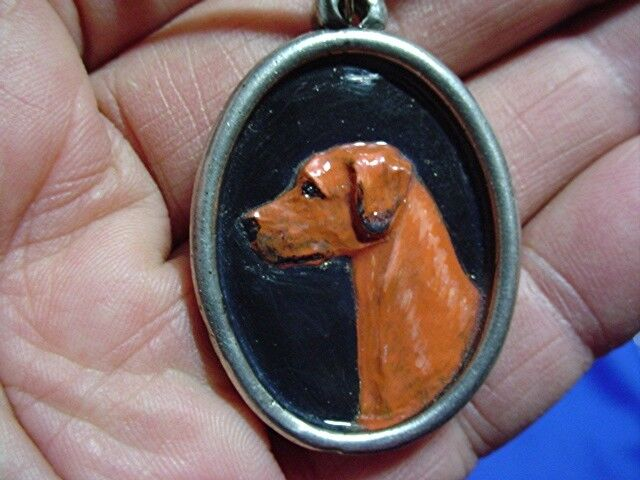 Pewter Cameo Rhodesian Ridgeback necklace Hand painted Sighthound Dog Jewelry B1
