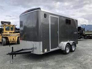 NEW CHARCOAL SIDE X SIDE UTV 7X14 TANDEM ENCLOSED CARGO TRAILER
