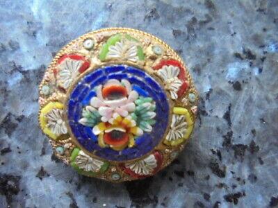 belle broche ronde ancienne en micromosaique