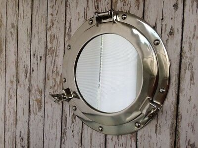 "11"" Porthole Mirror ~ Chrome Finish ~ Nautical Maritime Decor ~Ship Cabin Window"