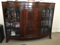 Beautiful glass fronted antique display cabinet-1920's