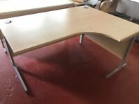 Immaculate 1600 x 1200 Cantilever Right Sided Wave Office Desk with Cable Ports