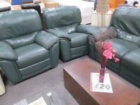 *****BARGAIN*GREEN RECLINING LEATHER 3+2 SINGLES SEATER SOFA***** *****REAL LEATHER******