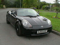 02 REG TOYOTA MR2 1.8 VVTI ROADSTER CONVERTIBLE IN BLACK WITH HARD TOP HPI CLEAR
