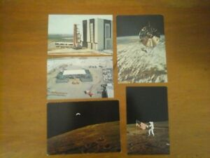 5 Post Cards of Space (Moon) and  Kennedy Space Center