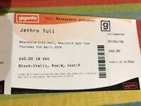 Jethro Tull ticket. Newcastle City Hall. Thursday 5th April