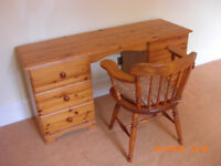 PINE DRESSING/TABLE DESK 6 DRAWS WITH CAPTAINS CHAIR