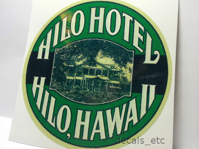 Hilo Hotel Hawaii Vintage Style Travel Decal / Vinyl Sticker, Luggage Label