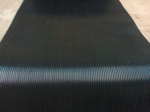 "RIB RUBBER MATTING BLACK  PSA ADHESIVE  ONE SIDE  1/8 THK X 36""WIDE X 12"" LONG"