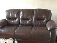 Real brown leather sofa and electric recliner
