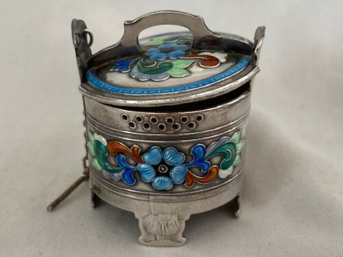 Oystein Balle Enameled Sterling Silver tea ball strainer infuser or figural salt