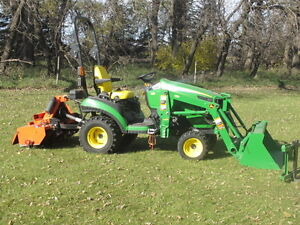 1025R John Deere Tractor with Loader and Tiller