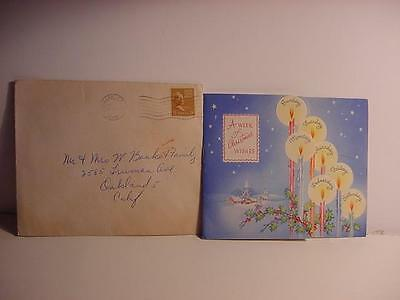 Vintage 1948 Multi-Page CHRISTMAS Card w/Days of the Week Candles + Envelope