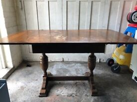 Antique (labelled White & Co furniture depositories) solid wood dining room table